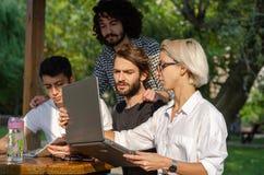 Een groep jonge laptops die in het park werken royalty-vrije stock fotografie