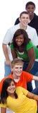 Een groep jonge studenten/vrienden op wit Royalty-vrije Stock Afbeelding