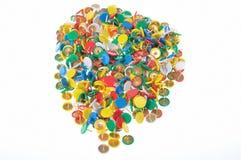Een groep kleurenspelden Stock Fotografie