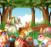 Een groep konijntjes en paaseieren vector illustratie