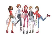 Een groep meisjes met het winkelen zakken in handen Vectorillustratie, die op witte achtergrond wordt geïsoleerd stock illustratie