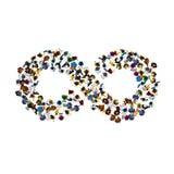 Een groep mensen in een vorm van oneindigheidssymbool op witte achtergrond Vector illustratie Stock Afbeeldingen
