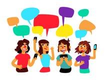 Een groep mensen met grappige bellen debatteert Vector De mensen babbelen Illustratie in de beeldverhaalstijl De illustratie is stock illustratie