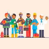 Een groep mensen van verschillende beroepen op een geïsoleerde achtergrond Dag van de Arbeid Vlakke vectorillustratie Stock Afbeeldingen