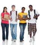 Een groep multiculturele studenten, vrienden Stock Foto's