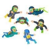 Een groep professionele duiker met het goede possing royalty-vrije illustratie