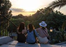 Een groep toeristen op zonsondergangachtergrond Mensen in het park van Madrid stock afbeelding