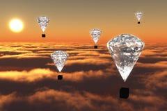 De luchtballonnen van de diamant bij schemering Royalty-vrije Stock Foto