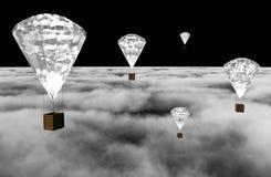 De luchtballonnen van de diamant bij nacht Stock Fotografie