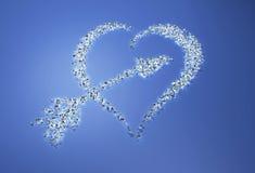 Het hart en de pijl worden gemaakt met diamanten Royalty-vrije Stock Fotografie