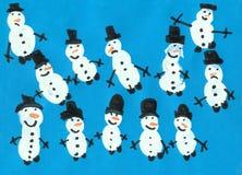 Een groep vrolijke sneeuwmannen Stock Fotografie