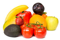Een groep vruchten en groente op geïsoleerd op een witte achtergrond Stock Foto's