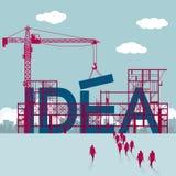 Een groep zakenlieden liep aan de bouwwerf De torenkranen heffen reusachtig `-IDEE ` op royalty-vrije illustratie