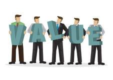 Een groep zakenlui die reuzealfabet houden om de woordwaarde te vormen Bedrijfsconcept collectieve waarde stock illustratie