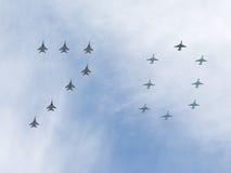 Een groot aantal 70 vliegtuigen Stock Foto