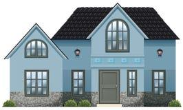 Een groot blauw huis stock illustratie