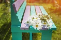 Een groot boeket van camomiles ligt op een houten bank in de dag van de kleuren Zonnige zomer stock foto