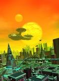 Een groot ruimteschip over de stad Stock Foto's