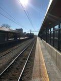 Een Groot Schot van een Spoorwegspoor in Chicago Stock Fotografie