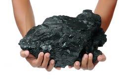 Een groot stuk van steenkool wordt gehouden met twee handen Stock Afbeeldingen