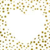 Een groot wit hart op de achtergrond van kleine gouden punten Stock Afbeelding