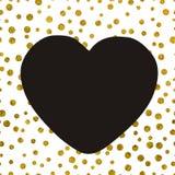 Een groot zwart hart op de achtergrond van kleine gouden punten Stock Afbeeldingen