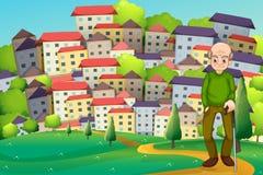 Een grootvader bij de heuveltop over het dorp Stock Afbeelding