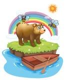 Een grote beer en twee bijen Royalty-vrije Stock Foto's