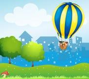 Een grote hete luchtballon boven de heuvel stock illustratie