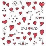 Een grote inzameling van hand getrokken harten en pijlen Royalty-vrije Stock Afbeelding