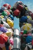 Een grote inzameling van paraplu stock afbeelding