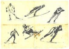 Een grote inzameling van wintersporten Stock Afbeelding