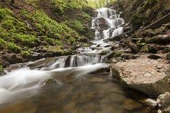 Een grote kei ligt bij de voet van een waterval in de Karpatische bergen Stock Fotografie