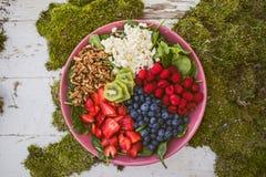 Een Grote Kom Heerlijke Fruit en Greens Salade royalty-vrije stock afbeelding