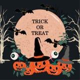 Een grote maan met Truc of behandelt, Gelukkig Halloween, met, maan, knuppel stock illustratie