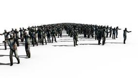 Een grote menigte van zombieën Apocalyps, Halloween-concept Isoleer op wit het 3d teruggeven royalty-vrije illustratie