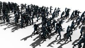 Een grote menigte van zombieën Apocalyps, Halloween-concept Isoleer op wit het 3d teruggeven Stock Foto's