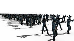Een grote menigte van zombieën Apocalyps, Halloween-concept Isoleer op wit het 3d teruggeven stock illustratie