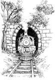 Een grote oude werkende Trein van de Stoom royalty-vrije illustratie