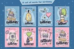Een grote reeks groetkaarten voor verjaardag van gekleurde krabbels Stock Afbeeldingen