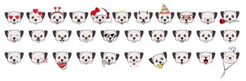 Een grote reeks hoofden van kleine honden met verschillende emoties en verschillende voorwerpen De Anatolische Hond van de Herder royalty-vrije illustratie