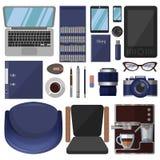 Een grote reeks kantoorbehoeften en grafische ontwerphulpmiddelen stock illustratie