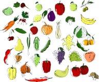 Een grote reeks van veelkleurige vruchten en groentenzwarte op een witte achtergrond stock illustratie