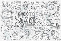 Een grote reeks vector hand-drawn krabbels terug naar school Stock Afbeeldingen