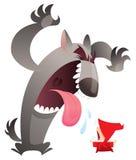 Grote slechte wolf versus weinig rood meisje Royalty-vrije Stock Afbeelding