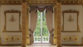 Een grote zaal met kolommen in een klassieke stijl stock videobeelden
