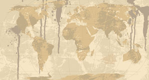 Een Grunge, de Rustieke Kaart van de Wereld. vector illustratie