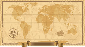 Een Grunge, de Rustieke Kaart van de Wereld Stock Foto