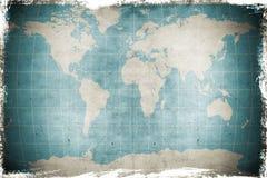 Een grungekaart van de wereld Stock Foto
