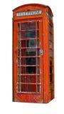 Een grungy telefooncel (het Knippen inbegrepen weg) Stock Afbeeldingen